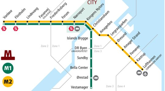 Subway Map Of Copenhagen.Metro In Denmark